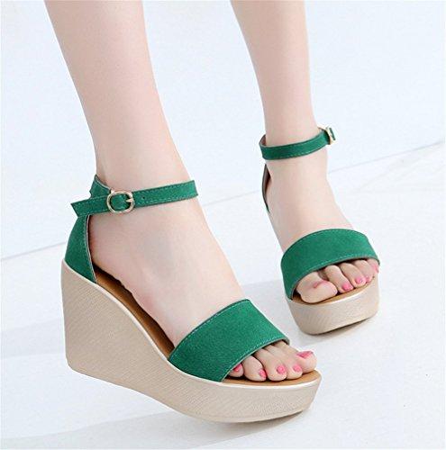 Wealsex sandalen damen keilabsatz sommerschuhe Grün