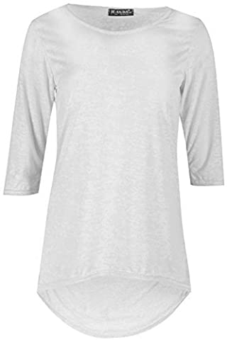 Womens Ladies Burn Out 3/4 Sleeves Round Neck High Low Curved Hem T Shirt Mini Top