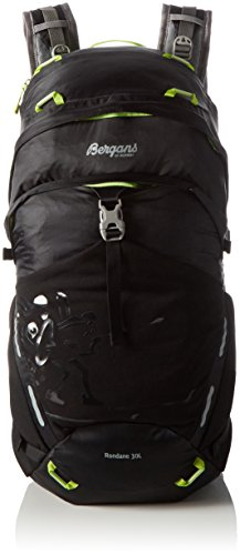 Bergans Rucksack Rondane Black/Neon Green, 50 x 26 x 23 cm, 30 L