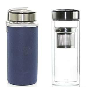 teatravel Tasse à thé à double paroi en verre tasse thermos W/panier-500ml