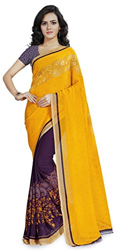 Anand Sarees Georgette Saree with Blouse Piece (1190_2_Yellow_Free size)