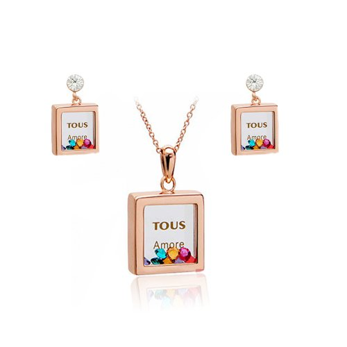 FAIRY COUPLE Women's Jewellery Set with Square Pendant Crystal Necklace and Earring vielfarbige S79
