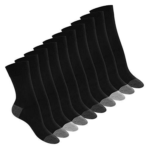 Footstar 10 Paar Baumwoll-Socken - abgesetzte Ferse und Spitze - Classic Grey 35-38