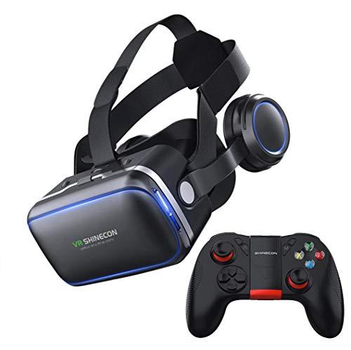 ZIHENGUO VR-Brille VR-Virtual-Reality-3D-Brille 100 ° FOV-Stereo-Kopfhörer Mit Gamepad, Geeignet Für 4,7 '' - 6,0 '' - Verschiedene Smartphones,B