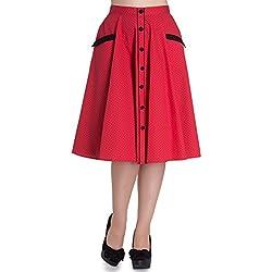 Falda Vintage de Hell Bunny Rojo Martie con Lunares en estilo 50s - (S - ES 38)