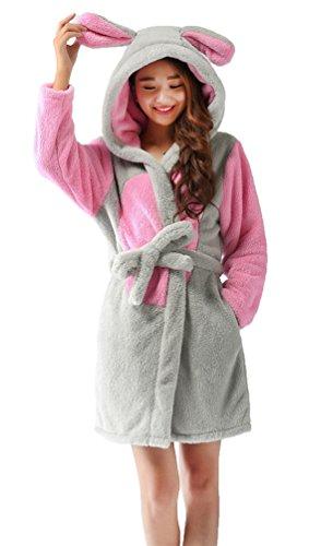 Nicetage Damen Flauschiger Bademantel mit Kapuze Saunamantel Morgenmantel Tier Pyjama(Mouse,M) (Flanell-pyjama Süße)