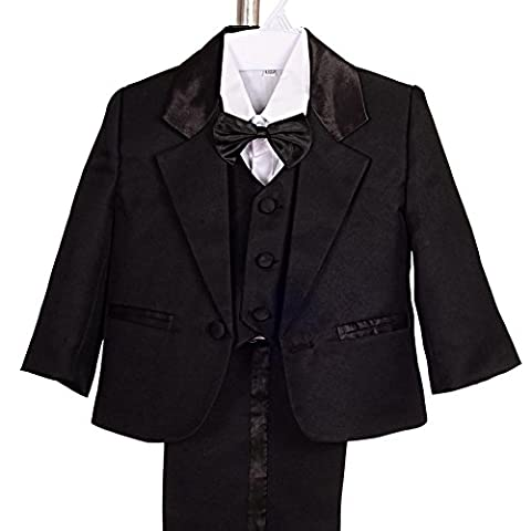 Lito Angels Baby Boy' 5 Pcs Set Formal Tuxedo Suits No Tail Dress Wear Formal Suit Outfits Size 6-9 Years Black