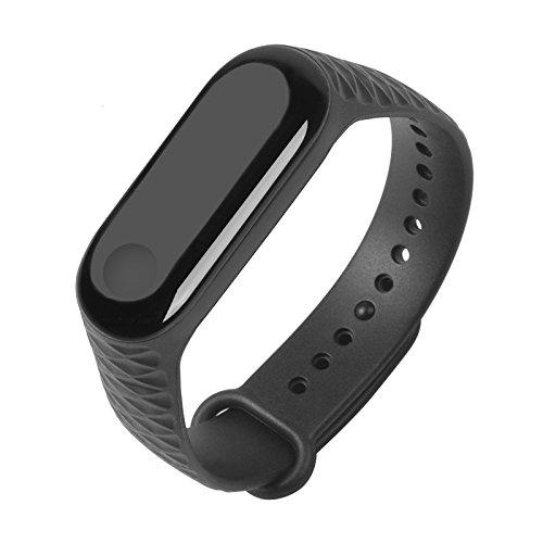 Sikai Para Xiaomi Mi Band 3 Fitnessarmband Silikon Armband Silicone Ersatzarmband Bracelet Uhrenarmband Sportarmband Silikonarmband Para Xiaomi 3 (Schwarz)