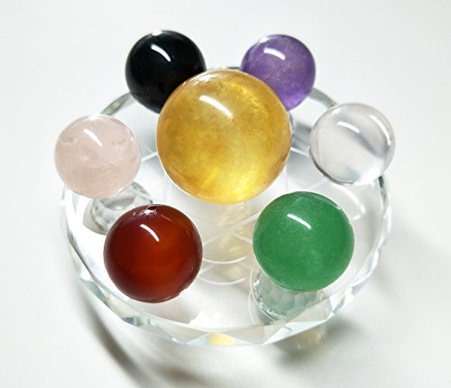 Set of 7 Crystal Balls Made of Yellow Calcite, Black Obsidian, Rose Quartz, Clear Quartz, Green Aventurine, Amethyst & Red Agate Spheres, With Seven Star Plate Stand, for Chakra Stones and Fengshui Clear Plate Stand