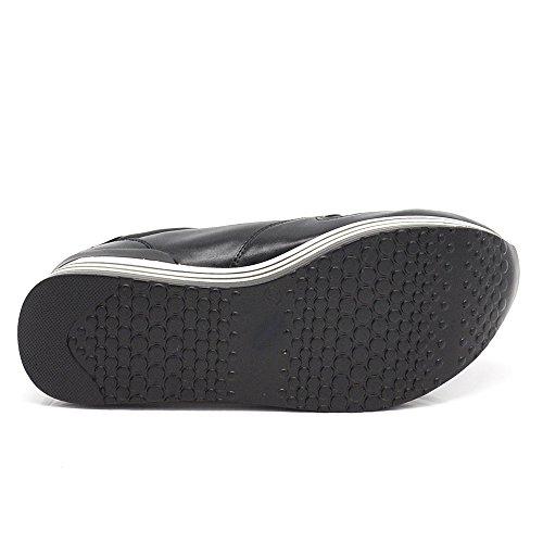 If Fashion Sneakers Scarpe da Ginnastica Donna Pelle Sintetica Zeppa Para Rialzo Righe F207 V786 nero