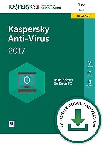 Kaspersky Anti-Virus 2017 Upgrade   1 Gerät  1 Jahr  PC