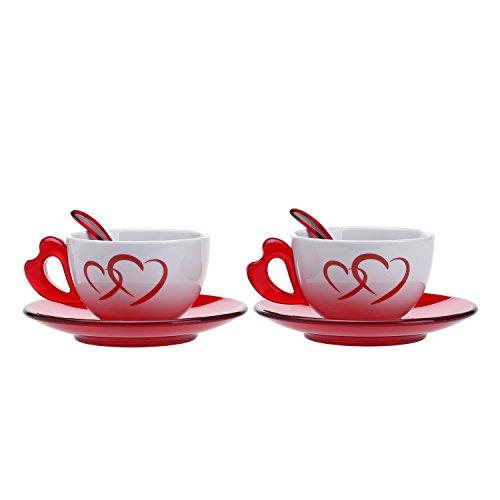 Guzzini 26770065 Set 2 Tazze Cappuccino con Piattino, Modello Love