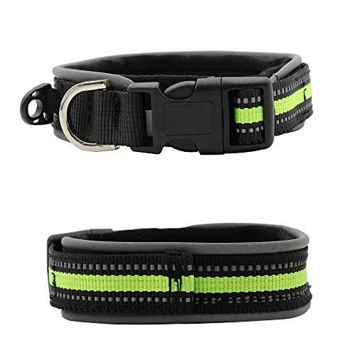 Reflektierendes Hundehalsband, bequemes Hundehalsband, Haustier Hund Nylon Halsbänder Verstellbar Leine Halsbänder(M,Grün)