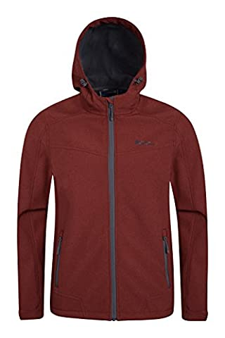 Mountain Warehouse Reykjavik Men's Textured Soft-shell Jacket - Breathable, Water Resistant, Adjustable Hood, Cuffs & Hem with Chin Guard & Two Zipped Pockets Burgundy