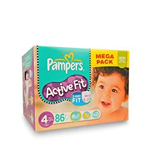 PAMPERS - ACTIVE FIT Couches Mégapack T4 Maxi 7-18Kg - 86 couches
