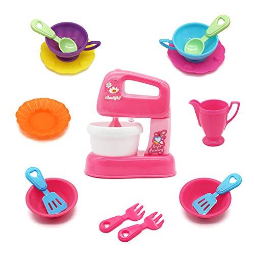 Küche Kinder Küchenmaschine Spielzeug Rollenspiel Pretend Spiel mit Mixer Rührschüssel und Tee Set Geschenk für Kinder ab 3 4 5 Jahre