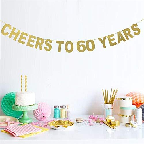 Ablerfly Print Banner, Gold Glitter Brief CHEERS AUF 10-90 JAHRE Flag Dekoration für Geburtstag Hochzeitstag Feier Parteien