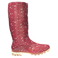 SUPGOD P370 Pink with White Stars Funky Womens Ladies Girls Wellies Wellie Boots Rain Snow Sizes 3, 4, 5, 6, 6.5 & 7 Bestival, Reading & V Festival *UK Seller*