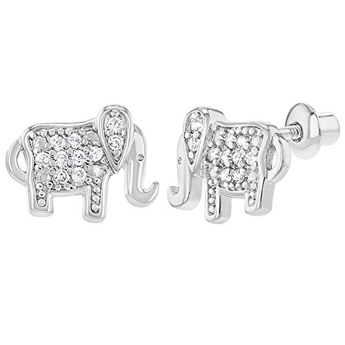 Chapado en rodio claro elefante prosperidad Screw Back pendientes 10 mm