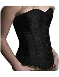 ANGELYK corsets habillés - Corset Habillé London Noir Baleines en Acier  Spiralé Femme Haut Bustier Soirée fb76bafd576