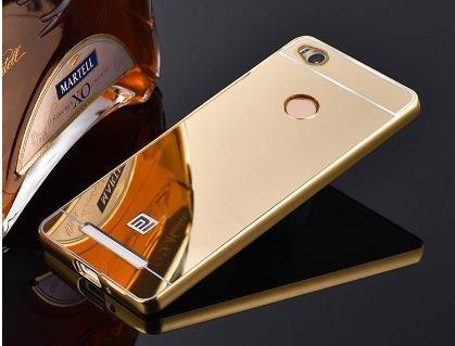 Xiaomi Redmi 3S Prime Luxury Aluminium Bumper With Mirror Acrylic Back Cover - Gold