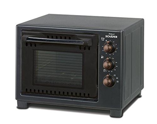 Schäfer 20 Liter Backofen im Retro-Design - 1000 Watt ✔ stufenlos regelbarer Thermostat ✔ 90-Minuten-Timer ✔ inkl. Backblech, Grillrost, Krümelblech ✔ (Schwarz)