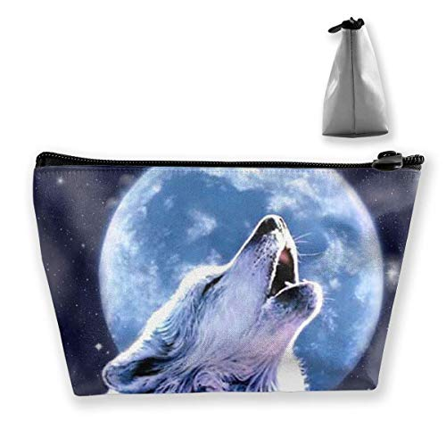 Howling Wolf Makeup Bag Portable Womens Pouch trapezoid Receive Multifunction Cosmetic Handbag Bag b76gfIvYy