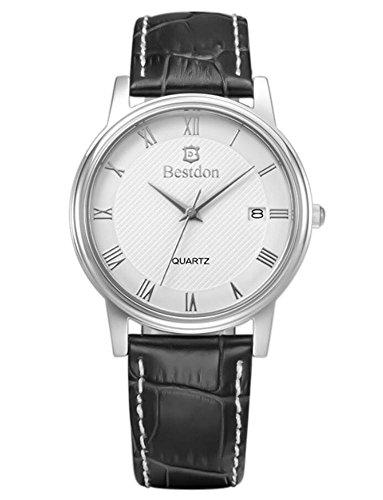 Hommes Montre étanche Ultra-mince Quartz Watch Calendrier Montres en cuir, 9929G