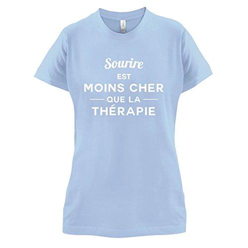 Sourire est moins cher que la thérapie - Femme T-Shirt - 14 couleur Bleu Ciel