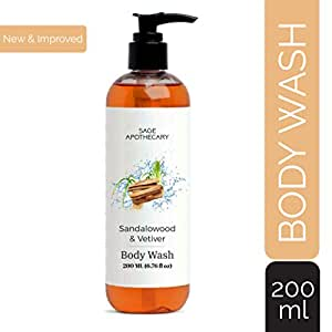 Sage Apothecary Body Wash | Shower gel | Pure and Gentle, 200ML (Sandalwood & Vetiver Body Wash)
