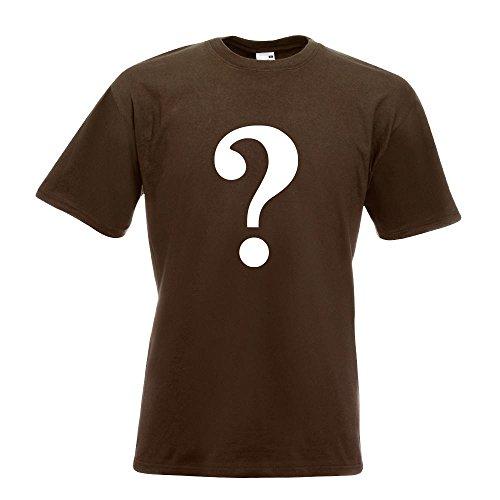 KIWISTAR - Fragezeichen Piktogramm T-Shirt in 15 verschiedenen Farben - Herren Funshirt bedruckt Design Sprüche Spruch Motive Oberteil Baumwolle Print Größe S M L XL XXL Chocolate