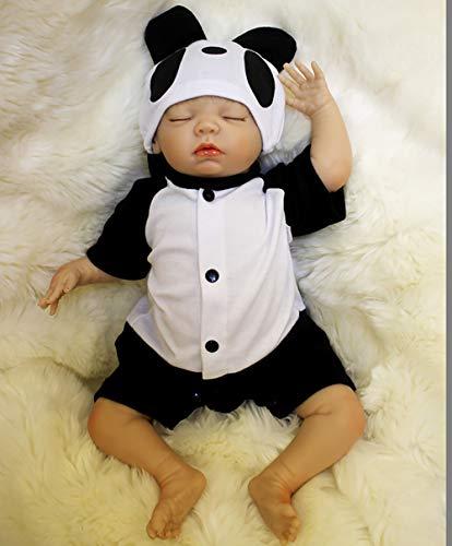 ZIYIUI Lebensechte Realistische Reborn Sleeping Baby Boy 18 Zoll 45 cm Echt Aussehende Puppe mit Panda Kleidung Alter 3 (Baby Alte Oma Kostüm)