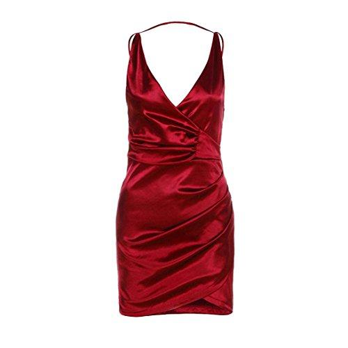 Kword Donne Sexy Solido Bordeaux V-Collo Attraversato Vestito Anteriore, Mini Abito, Sexy Abito Senza Maniche Vestito Rosso