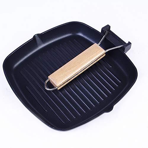 m Pfannen - Anti-haftend - mit Holz Klapp griff - Tragbares Picknickkochgeschirr,Camping Wandern Kochen Picknick, für alle Herdarten - mit Perfekter Hitzeverteilung,28cm ()