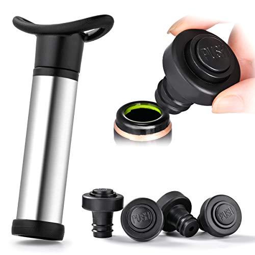 Sunix Wine Saver Vakuumpumpe, Wine Saver Edelstahl mit 4 Vakuumkorken für Weinflasche - Edelstahl