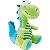 Kuscheltier Dino Glubschi mit niedlichen, großen Augen in schönen Grün- und Blautönen, Stofftier zum Kuscheln, Spielen und Liebhaben, Bauch des Plüschtieres ist mit gestreiftem Fell abgesetzt