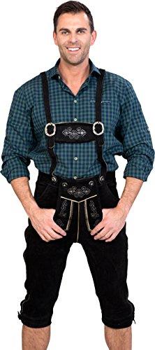 Almwerk Herren Trachten Lederhose Kniebund Modell Sepp in schwarz, braun und Hellbraun, Farbe:Schwarz;Größe Herren:50