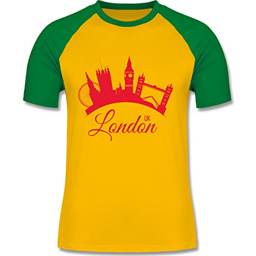 Skyline - Skyline London UK England - zweifarbiges Baseballshirt für Männer Gelb/Grün