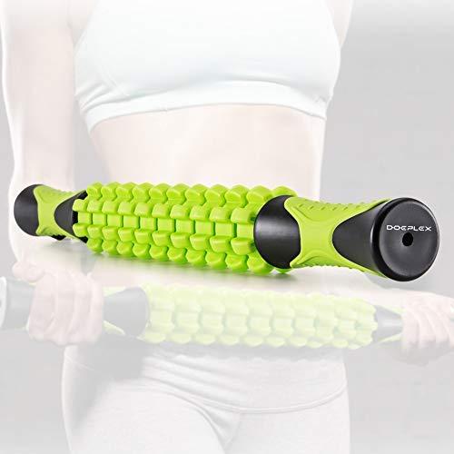 Bastoncini per Massaggi, Doeplex Bastone per Massaggio da 45cm Roller Massage Stick per Recupero della Schiena, Muscolare, Crampi, Dimensione da Viaggio (Verde)