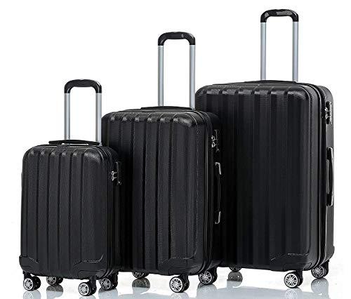 BEIBYE TSA-Schloß 2080 Hangepäck Zwillingsrollen neu Reisekoffer Koffer Trolley Hartschale Set-XL-L-M(Boardcase) (Schwarz, Set)
