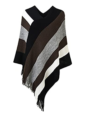 Ferand Women's Elegant Knitted Poncho Top with Stripe Patterns and