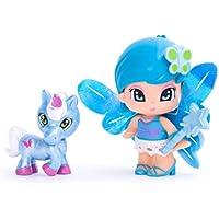 Pinypon - Poupée et Mini-poupée - Blister 1 Figurine - Fée et sa Licorne - Bleu