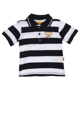 Steiff Unisex - Baby Poloshirt 1/4 Arm 9916851, Gestreift, Gr. 86, Blau (Steiff Marine 3032)