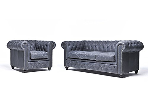 Original Chesterfield Sofa und Sessel – 1 / 3 Sitzer – Vollständig Handgewaschenes Leder – Vintage Schwarz
