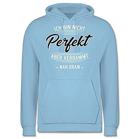 Sprüche - Ich bin nicht perfekt aber verdammt nah dran - M - Hellblau - JH001 - Männer Premium Kapuzenpullover / (Frühling Schlagwörter)