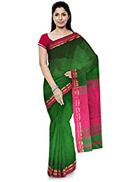 R K Chouhan Maheshwar Maheshwari Handloom Cotton & Silk Saree (Dark Green)