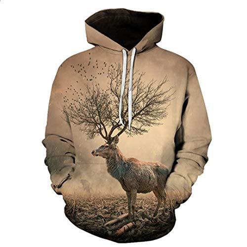 Felpe con cappuccio da uomo autunno 3d con corna di cervo stampato autunno inverno tuta da uomo abbigliamento sportivo casual felpa weiyi-091 xl
