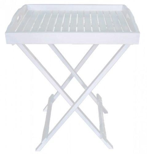 Tablettständer amovible pour jardin en bois d'eucalyptus certifié fSC blanc/laqué