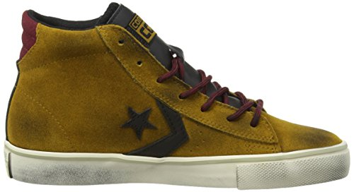 Converse Pro Leather Vulc Mid Suede/Lth, Baskets Pro Leather Vulc Mid mixte adulte Antiqued Gold/Black