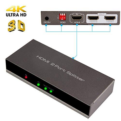 AMANKA 4K HDMI Splitter 1 Entrada 2 Salida Dispensador de Señal 1x2 Puerto Conmutador Full HD 3D 1080P Adaptador para BLU-Ray,PS3, Xbox 360, HD-DVD, HD-DVR, HDTV,Proyector